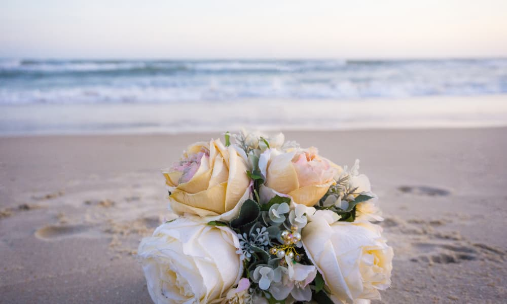 wedding flowers on a beach