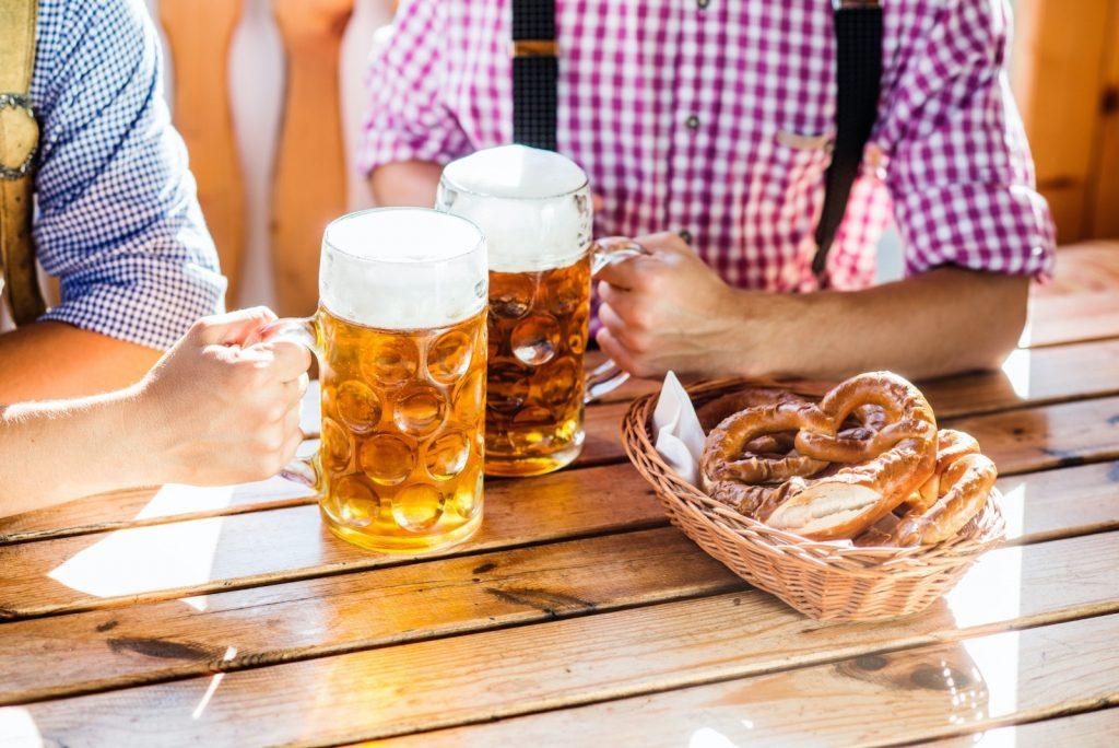 Oktoberfest beir and pretzel table